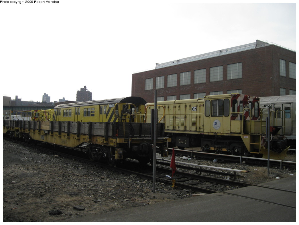 (175k, 1044x788)<br><b>Country:</b> United States<br><b>City:</b> New York<br><b>System:</b> New York City Transit<br><b>Location:</b> 207th Street Yard<br><b>Car:</b> R-77E Locomotive  E02 <br><b>Photo by:</b> Robert Mencher<br><b>Date:</b> 3/7/2009<br><b>Viewed (this week/total):</b> 1 / 498
