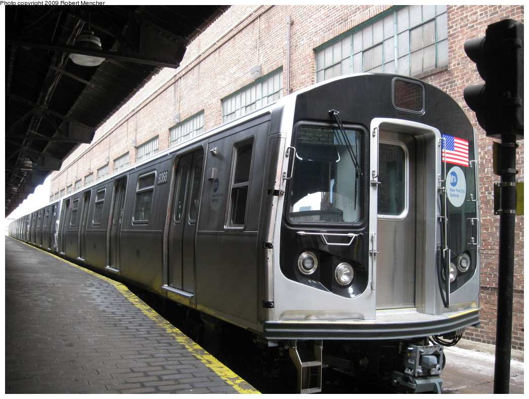 (246k, 1044x788)<br><b>Country:</b> United States<br><b>City:</b> New York<br><b>System:</b> New York City Transit<br><b>Location:</b> 207th Street Yard<br><b>Car:</b> R-160A (Option 1) (Alstom, 2008-2009, 5 car sets)  9368 <br><b>Photo by:</b> Robert Mencher<br><b>Date:</b> 3/7/2009<br><b>Viewed (this week/total):</b> 1 / 1135