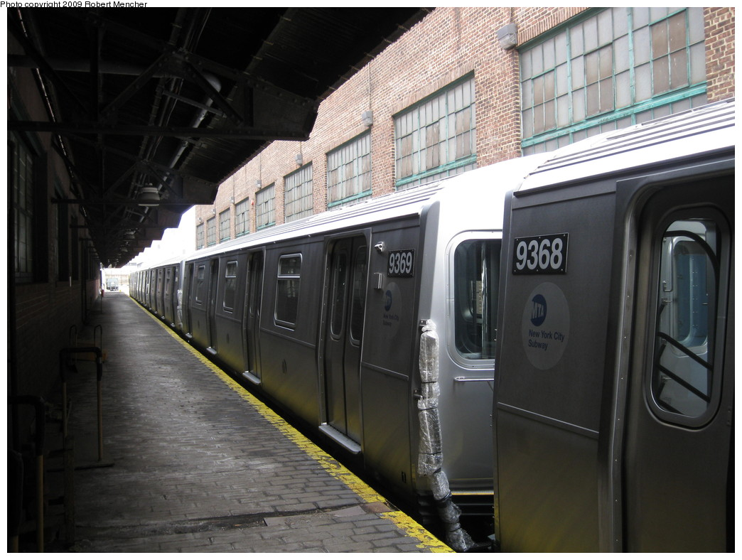 (208k, 1044x788)<br><b>Country:</b> United States<br><b>City:</b> New York<br><b>System:</b> New York City Transit<br><b>Location:</b> 207th Street Yard<br><b>Car:</b> R-160A (Option 1) (Alstom, 2008-2009, 5 car sets)  9369 <br><b>Photo by:</b> Robert Mencher<br><b>Date:</b> 3/7/2009<br><b>Viewed (this week/total):</b> 0 / 851