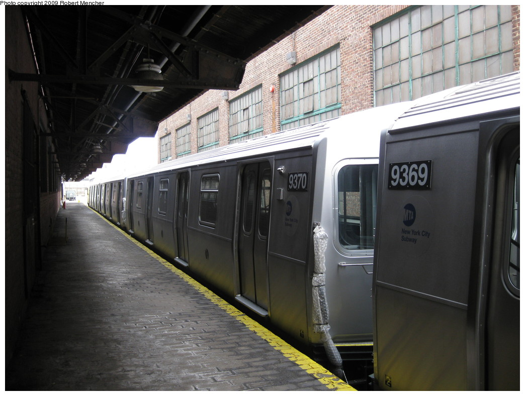 (204k, 1044x788)<br><b>Country:</b> United States<br><b>City:</b> New York<br><b>System:</b> New York City Transit<br><b>Location:</b> 207th Street Yard<br><b>Car:</b> R-160A (Option 1) (Alstom, 2008-2009, 5 car sets)  9370 <br><b>Photo by:</b> Robert Mencher<br><b>Date:</b> 3/7/2009<br><b>Viewed (this week/total):</b> 2 / 850