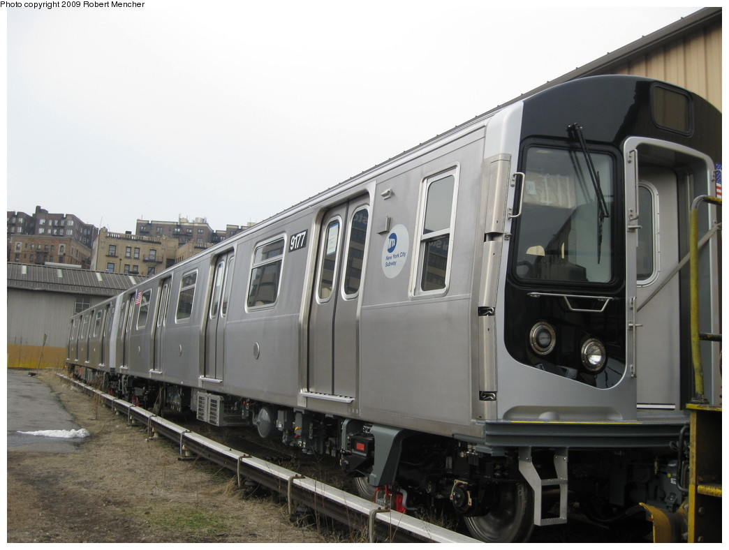 (177k, 1044x788)<br><b>Country:</b> United States<br><b>City:</b> New York<br><b>System:</b> New York City Transit<br><b>Location:</b> 207th Street Yard<br><b>Car:</b> R-160B (Option 1) (Kawasaki, 2008-2009)  9177 <br><b>Photo by:</b> Robert Mencher<br><b>Date:</b> 3/7/2009<br><b>Viewed (this week/total):</b> 0 / 977