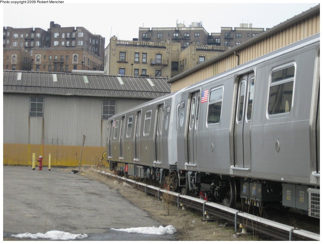 (212k, 1044x788)<br><b>Country:</b> United States<br><b>City:</b> New York<br><b>System:</b> New York City Transit<br><b>Location:</b> 207th Street Yard<br><b>Car:</b> R-160B (Option 1) (Kawasaki, 2008-2009)  9176 <br><b>Photo by:</b> Robert Mencher<br><b>Date:</b> 3/7/2009<br><b>Viewed (this week/total):</b> 1 / 863