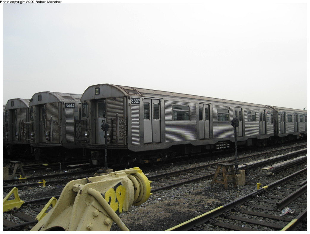 (172k, 1044x788)<br><b>Country:</b> United States<br><b>City:</b> New York<br><b>System:</b> New York City Transit<br><b>Location:</b> 207th Street Yard<br><b>Car:</b> R-32 (Budd, 1964)  3807/3444 <br><b>Photo by:</b> Robert Mencher<br><b>Date:</b> 3/7/2009<br><b>Viewed (this week/total):</b> 0 / 585