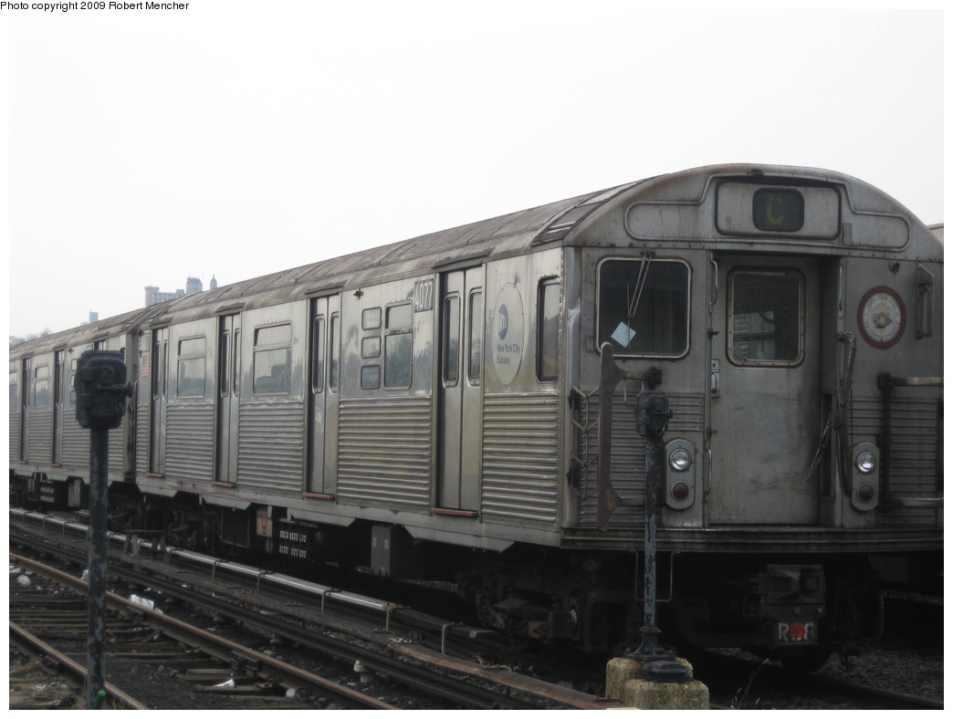 (151k, 1044x788)<br><b>Country:</b> United States<br><b>City:</b> New York<br><b>System:</b> New York City Transit<br><b>Location:</b> 207th Street Yard<br><b>Car:</b> R-38 (St. Louis, 1966-1967)  4077 <br><b>Photo by:</b> Robert Mencher<br><b>Date:</b> 3/7/2009<br><b>Viewed (this week/total):</b> 0 / 556
