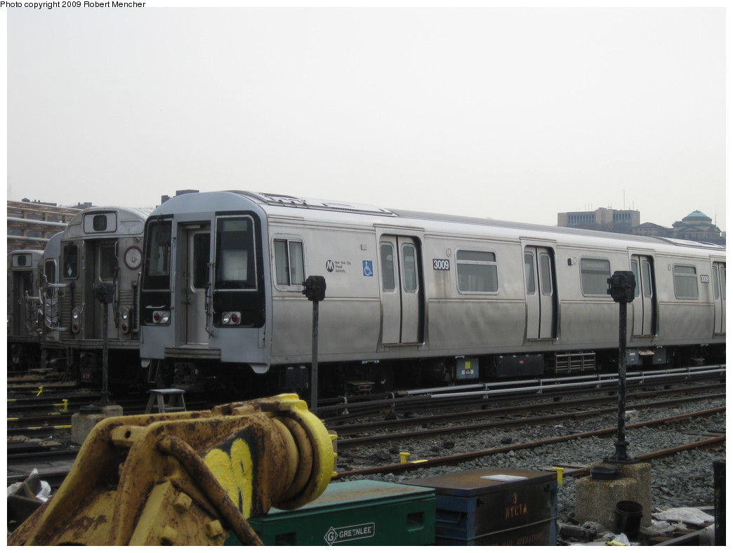 (158k, 1044x788)<br><b>Country:</b> United States<br><b>City:</b> New York<br><b>System:</b> New York City Transit<br><b>Location:</b> 207th Street Yard<br><b>Car:</b> R-110B (Bombardier, 1992) 3009 <br><b>Photo by:</b> Robert Mencher<br><b>Date:</b> 3/7/2009<br><b>Viewed (this week/total):</b> 4 / 1025