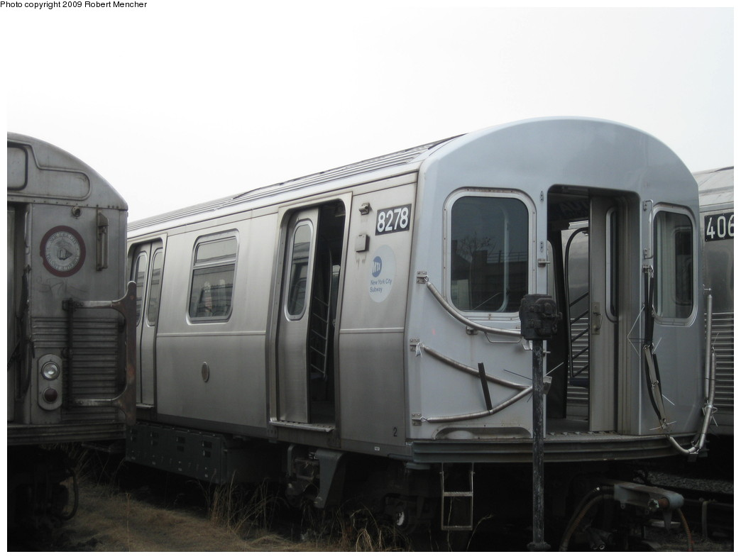 (137k, 1044x788)<br><b>Country:</b> United States<br><b>City:</b> New York<br><b>System:</b> New York City Transit<br><b>Location:</b> 207th Street Yard<br><b>Car:</b> R-143 (Kawasaki, 2001-2002) 8278 <br><b>Photo by:</b> Robert Mencher<br><b>Date:</b> 3/7/2009<br><b>Viewed (this week/total):</b> 1 / 728