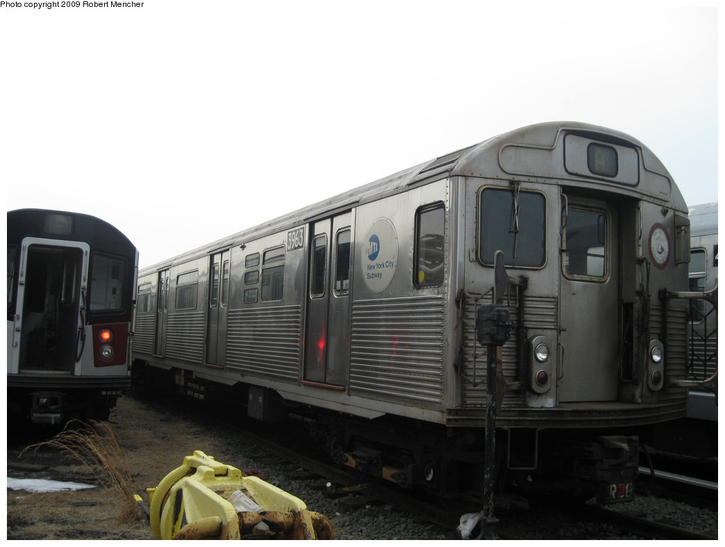 (148k, 1044x788)<br><b>Country:</b> United States<br><b>City:</b> New York<br><b>System:</b> New York City Transit<br><b>Location:</b> 207th Street Yard<br><b>Car:</b> R-38 (St. Louis, 1966-1967)  3963 <br><b>Photo by:</b> Robert Mencher<br><b>Date:</b> 3/7/2009<br><b>Viewed (this week/total):</b> 1 / 478