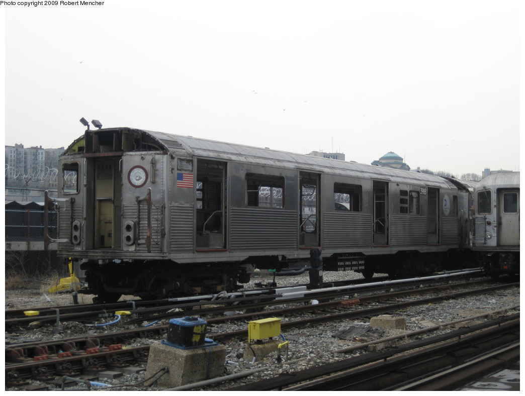 (169k, 1044x788)<br><b>Country:</b> United States<br><b>City:</b> New York<br><b>System:</b> New York City Transit<br><b>Location:</b> 207th Street Yard<br><b>Car:</b> R-38 (St. Louis, 1966-1967)  3988 <br><b>Photo by:</b> Robert Mencher<br><b>Date:</b> 3/7/2009<br><b>Notes:</b> Scrap<br><b>Viewed (this week/total):</b> 0 / 498