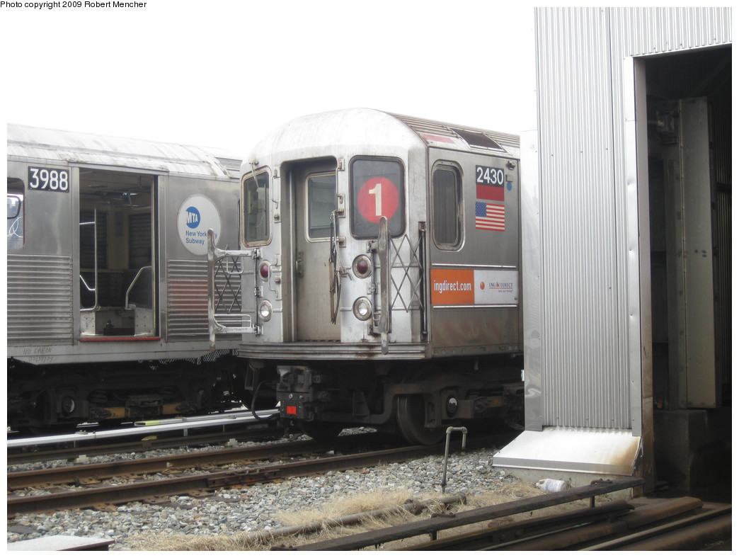 (189k, 1044x788)<br><b>Country:</b> United States<br><b>City:</b> New York<br><b>System:</b> New York City Transit<br><b>Location:</b> 207th Street Yard<br><b>Car:</b> R-62A (Bombardier, 1984-1987)  2430 <br><b>Photo by:</b> Robert Mencher<br><b>Date:</b> 3/7/2009<br><b>Viewed (this week/total):</b> 2 / 538