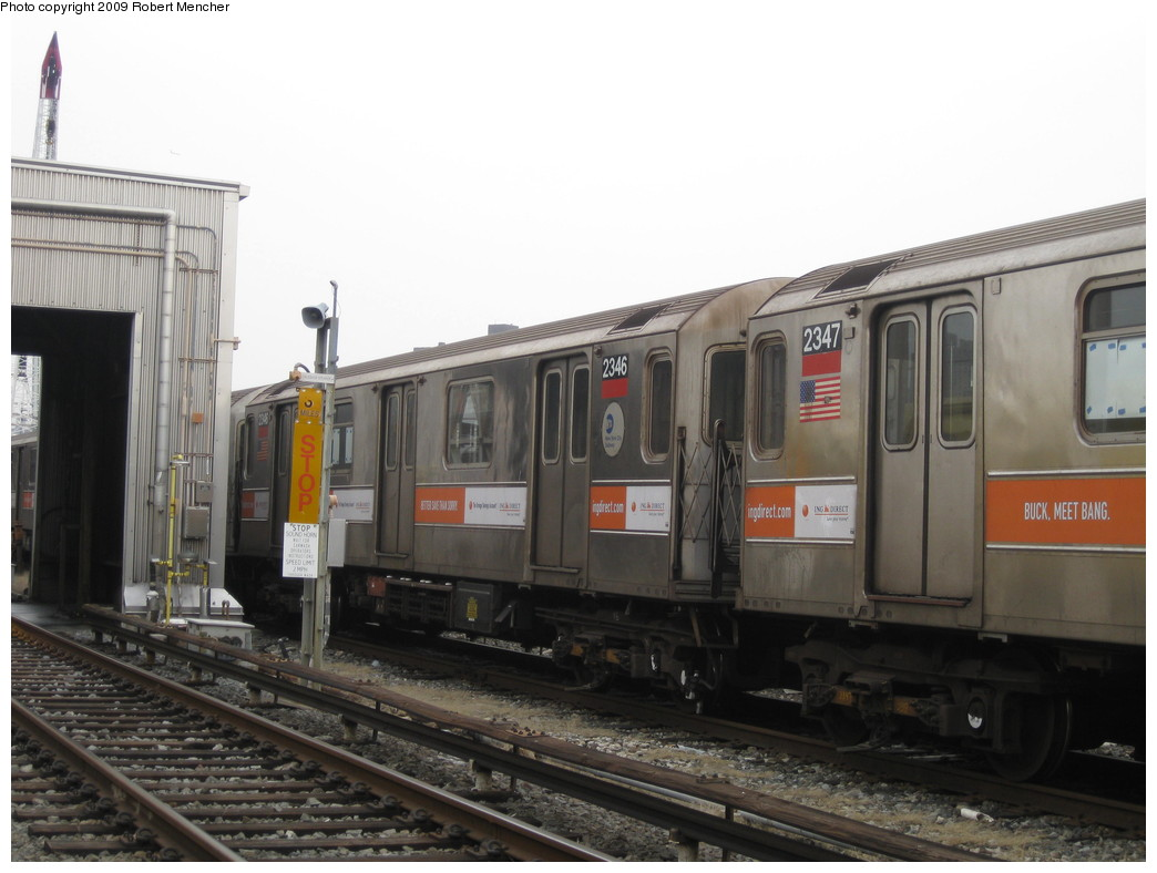 (175k, 1044x788)<br><b>Country:</b> United States<br><b>City:</b> New York<br><b>System:</b> New York City Transit<br><b>Location:</b> 207th Street Yard<br><b>Car:</b> R-62A (Bombardier, 1984-1987)  2346 <br><b>Photo by:</b> Robert Mencher<br><b>Date:</b> 3/7/2009<br><b>Viewed (this week/total):</b> 1 / 484