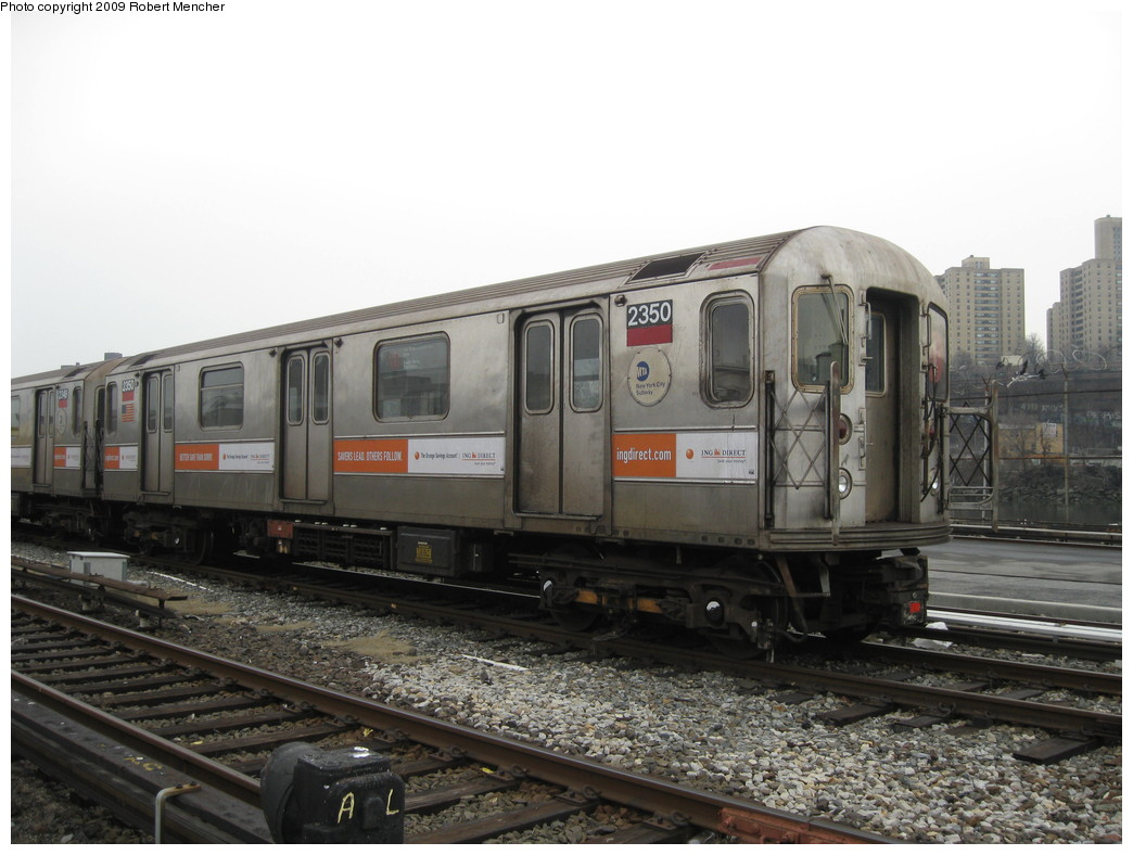 (193k, 1044x788)<br><b>Country:</b> United States<br><b>City:</b> New York<br><b>System:</b> New York City Transit<br><b>Location:</b> 207th Street Yard<br><b>Car:</b> R-62A (Bombardier, 1984-1987)  2350 <br><b>Photo by:</b> Robert Mencher<br><b>Date:</b> 3/7/2009<br><b>Viewed (this week/total):</b> 1 / 700