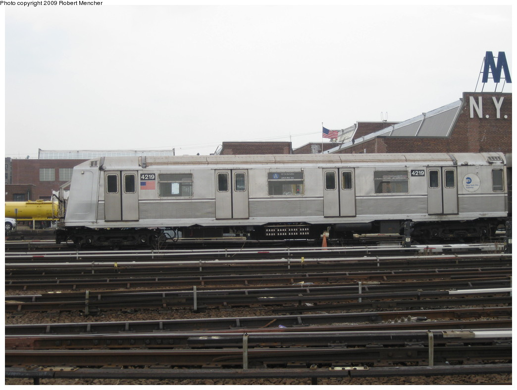 (171k, 1044x788)<br><b>Country:</b> United States<br><b>City:</b> New York<br><b>System:</b> New York City Transit<br><b>Location:</b> 207th Street Yard<br><b>Car:</b> R-40 (St. Louis, 1968)  4219 <br><b>Photo by:</b> Robert Mencher<br><b>Date:</b> 3/7/2009<br><b>Viewed (this week/total):</b> 2 / 548
