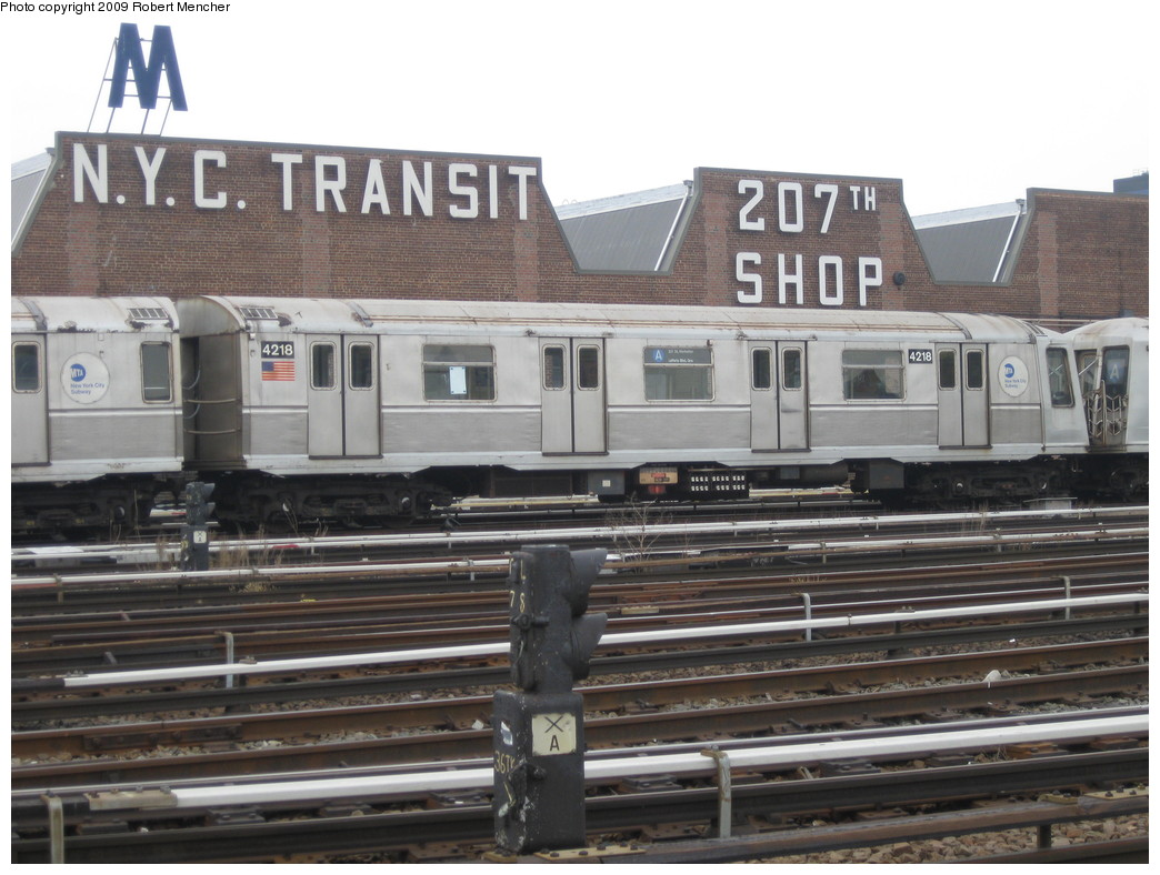 (208k, 1044x788)<br><b>Country:</b> United States<br><b>City:</b> New York<br><b>System:</b> New York City Transit<br><b>Location:</b> 207th Street Yard<br><b>Car:</b> R-40 (St. Louis, 1968)  4218 <br><b>Photo by:</b> Robert Mencher<br><b>Date:</b> 3/7/2009<br><b>Viewed (this week/total):</b> 1 / 525