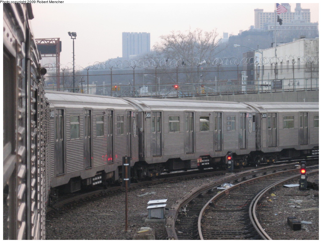 (240k, 1044x788)<br><b>Country:</b> United States<br><b>City:</b> New York<br><b>System:</b> New York City Transit<br><b>Location:</b> 207th Street Yard<br><b>Car:</b> R-32 (Budd, 1964)  3455/3454/3878 <br><b>Photo by:</b> Robert Mencher<br><b>Date:</b> 3/7/2009<br><b>Viewed (this week/total):</b> 3 / 1139