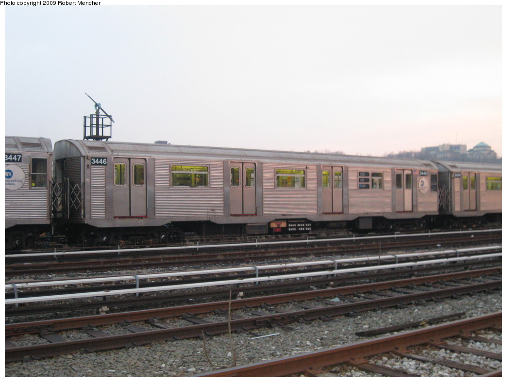 (180k, 1044x788)<br><b>Country:</b> United States<br><b>City:</b> New York<br><b>System:</b> New York City Transit<br><b>Location:</b> 207th Street Yard<br><b>Car:</b> R-32 (Budd, 1964)  3446 <br><b>Photo by:</b> Robert Mencher<br><b>Date:</b> 3/7/2009<br><b>Viewed (this week/total):</b> 2 / 485