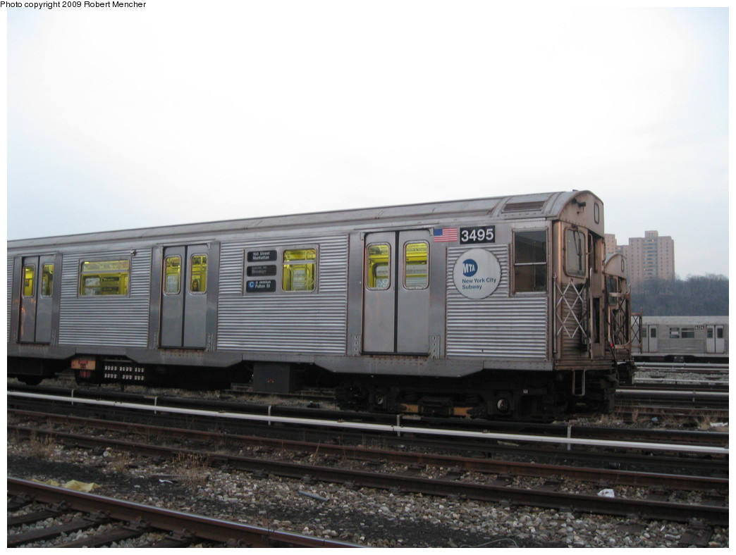 (164k, 1044x788)<br><b>Country:</b> United States<br><b>City:</b> New York<br><b>System:</b> New York City Transit<br><b>Location:</b> 207th Street Yard<br><b>Car:</b> R-32 (Budd, 1964)  3495 <br><b>Photo by:</b> Robert Mencher<br><b>Date:</b> 3/7/2009<br><b>Viewed (this week/total):</b> 2 / 901