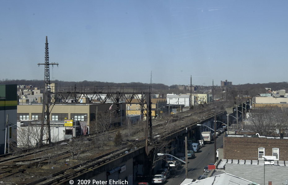 (171k, 930x598)<br><b>Country:</b> United States<br><b>City:</b> New York<br><b>System:</b> Long Island Rail Road<br><b>Line:</b> LIRR Rockaway<br><b>Location:</b> Ozone Park <br><b>Photo by:</b> Peter Ehrlich<br><b>Date:</b> 2/24/2009<br><b>Notes:</b> Former site of Ozone Park station, viewed from Lefferts Blvd. branch A train, looking north.<br><b>Viewed (this week/total):</b> 3 / 1405