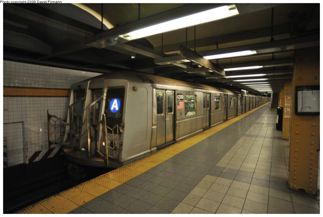 (219k, 1044x701)<br><b>Country:</b> United States<br><b>City:</b> New York<br><b>System:</b> New York City Transit<br><b>Line:</b> IND 8th Avenue Line<br><b>Location:</b> 14th Street <br><b>Route:</b> A<br><b>Car:</b> R-40 (St. Louis, 1968)  4399 <br><b>Photo by:</b> David Pirmann<br><b>Date:</b> 3/15/2009<br><b>Viewed (this week/total):</b> 4 / 863