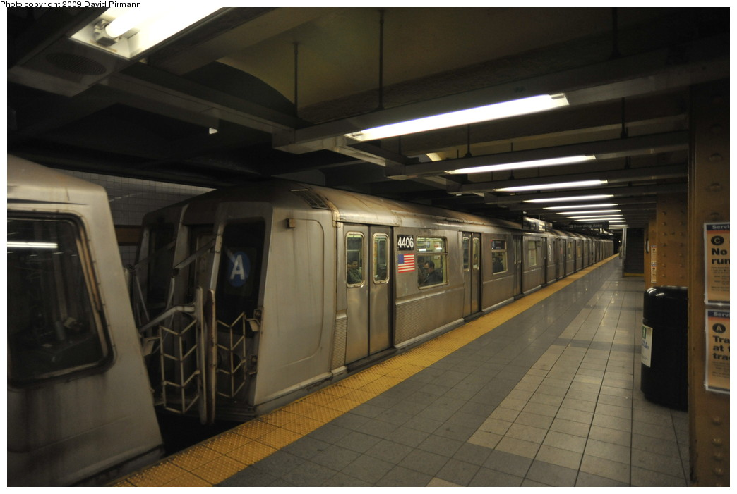 (203k, 1044x701)<br><b>Country:</b> United States<br><b>City:</b> New York<br><b>System:</b> New York City Transit<br><b>Line:</b> IND 8th Avenue Line<br><b>Location:</b> 14th Street <br><b>Route:</b> A<br><b>Car:</b> R-40 (St. Louis, 1968)  4406 <br><b>Photo by:</b> David Pirmann<br><b>Date:</b> 3/15/2009<br><b>Viewed (this week/total):</b> 3 / 743