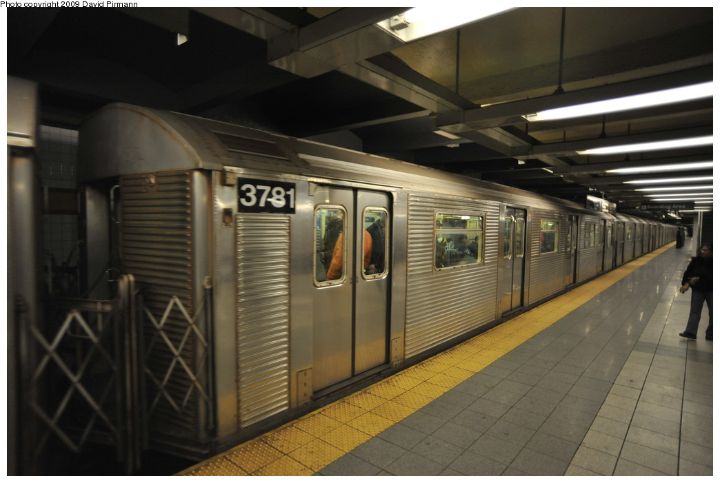 (222k, 1044x701)<br><b>Country:</b> United States<br><b>City:</b> New York<br><b>System:</b> New York City Transit<br><b>Line:</b> IND 8th Avenue Line<br><b>Location:</b> 14th Street <br><b>Route:</b> A<br><b>Car:</b> R-32 (Budd, 1964)  3781 <br><b>Photo by:</b> David Pirmann<br><b>Date:</b> 3/15/2009<br><b>Viewed (this week/total):</b> 1 / 785