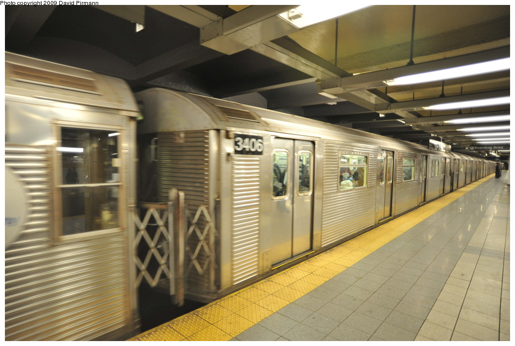 (246k, 1044x701)<br><b>Country:</b> United States<br><b>City:</b> New York<br><b>System:</b> New York City Transit<br><b>Line:</b> IND 8th Avenue Line<br><b>Location:</b> 14th Street <br><b>Route:</b> A<br><b>Car:</b> R-32 (Budd, 1964)  3406 <br><b>Photo by:</b> David Pirmann<br><b>Date:</b> 3/15/2009<br><b>Viewed (this week/total):</b> 3 / 814