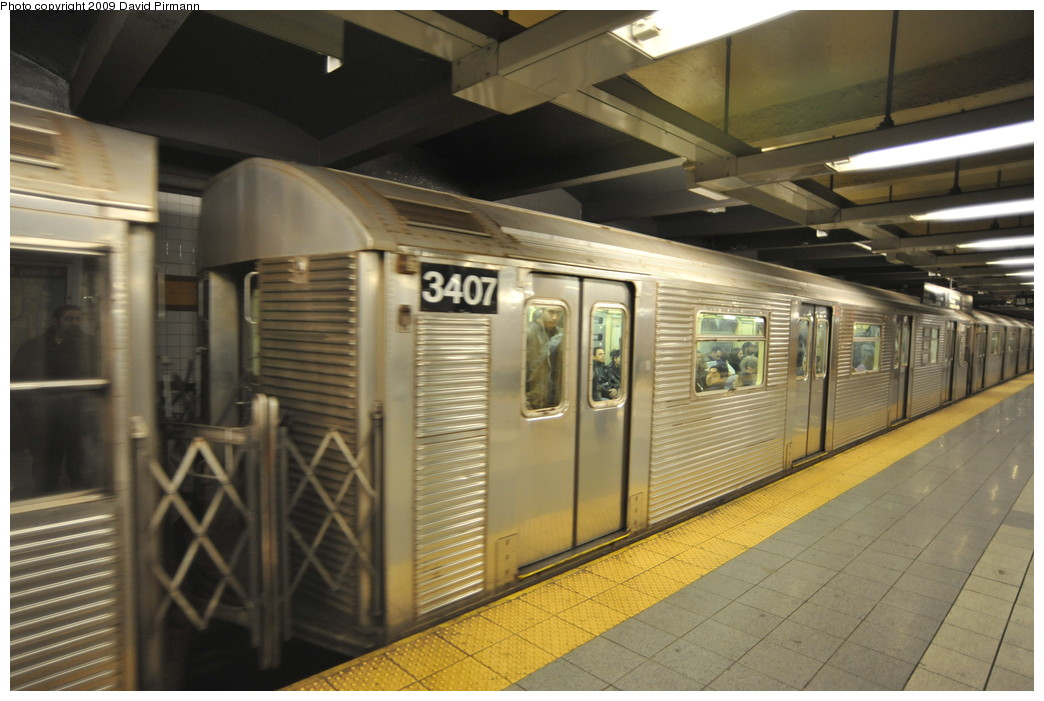 (239k, 1044x701)<br><b>Country:</b> United States<br><b>City:</b> New York<br><b>System:</b> New York City Transit<br><b>Line:</b> IND 8th Avenue Line<br><b>Location:</b> 14th Street <br><b>Route:</b> A<br><b>Car:</b> R-32 (Budd, 1964)  3407 <br><b>Photo by:</b> David Pirmann<br><b>Date:</b> 3/15/2009<br><b>Viewed (this week/total):</b> 4 / 751