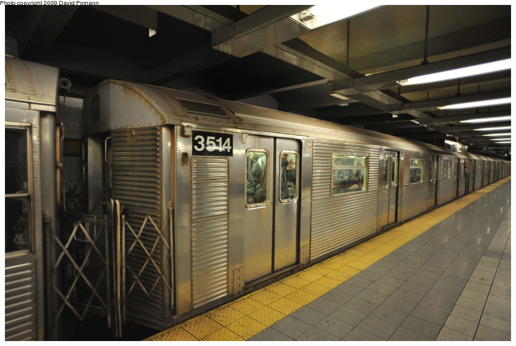 (237k, 1044x701)<br><b>Country:</b> United States<br><b>City:</b> New York<br><b>System:</b> New York City Transit<br><b>Line:</b> IND 8th Avenue Line<br><b>Location:</b> 14th Street <br><b>Route:</b> A<br><b>Car:</b> R-32 (Budd, 1964)  3514 <br><b>Photo by:</b> David Pirmann<br><b>Date:</b> 3/15/2009<br><b>Viewed (this week/total):</b> 1 / 811
