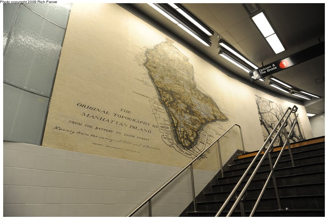 (212k, 1044x702)<br><b>Country:</b> United States<br><b>City:</b> New York<br><b>System:</b> New York City Transit<br><b>Line:</b> IRT West Side Line<br><b>Location:</b> South Ferry (New Station) <br><b>Photo by:</b> Richard Panse<br><b>Date:</b> 3/16/2009<br><b>Notes:</b> Antique map of Manhattan.<br><b>Viewed (this week/total):</b> 2 / 452