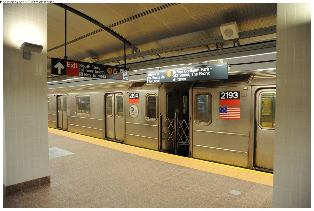 (199k, 1044x702)<br><b>Country:</b> United States<br><b>City:</b> New York<br><b>System:</b> New York City Transit<br><b>Line:</b> IRT West Side Line<br><b>Location:</b> South Ferry (New Station) <br><b>Route:</b> 1<br><b>Car:</b> R-62A (Bombardier, 1984-1987)  2194 <br><b>Photo by:</b> Richard Panse<br><b>Date:</b> 3/16/2009<br><b>Viewed (this week/total):</b> 0 / 1103