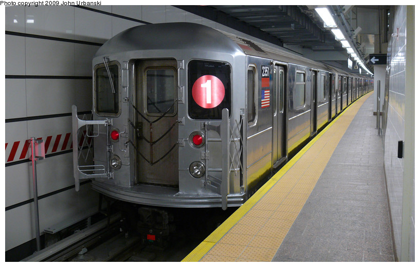 (151k, 820x522)<br><b>Country:</b> United States<br><b>City:</b> New York<br><b>System:</b> New York City Transit<br><b>Line:</b> IRT West Side Line<br><b>Location:</b> South Ferry (New Station) <br><b>Route:</b> 1<br><b>Car:</b> R-62A (Bombardier, 1984-1987)  2351 <br><b>Photo by:</b> John Urbanski<br><b>Date:</b> 3/16/2009<br><b>Viewed (this week/total):</b> 2 / 948