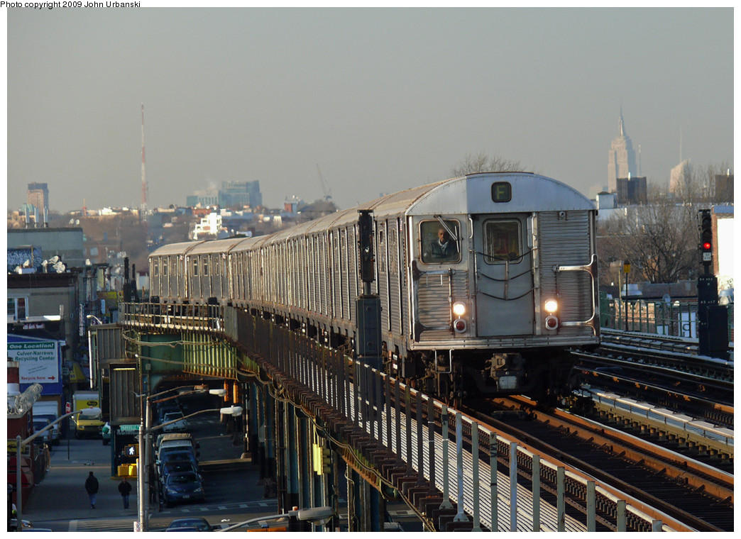 (282k, 1044x760)<br><b>Country:</b> United States<br><b>City:</b> New York<br><b>System:</b> New York City Transit<br><b>Line:</b> BMT Culver Line<br><b>Location:</b> 18th Avenue <br><b>Route:</b> F<br><b>Car:</b> R-32 (Budd, 1964)  3795 <br><b>Photo by:</b> John Urbanski<br><b>Date:</b> 3/17/2009<br><b>Viewed (this week/total):</b> 1 / 781