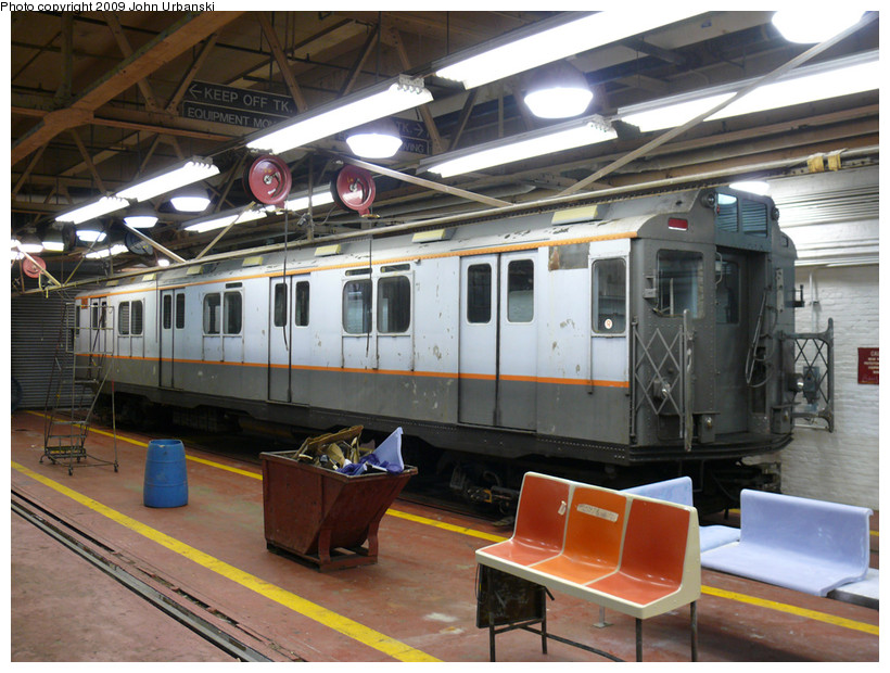 (200k, 820x620)<br><b>Country:</b> United States<br><b>City:</b> New York<br><b>System:</b> New York City Transit<br><b>Location:</b> Coney Island Shop-Paint Shop<br><b>Car:</b> R-7A (Pullman, 1938)  1575 <br><b>Photo by:</b> John Urbanski<br><b>Date:</b> 3/17/2009<br><b>Viewed (this week/total):</b> 5 / 1624