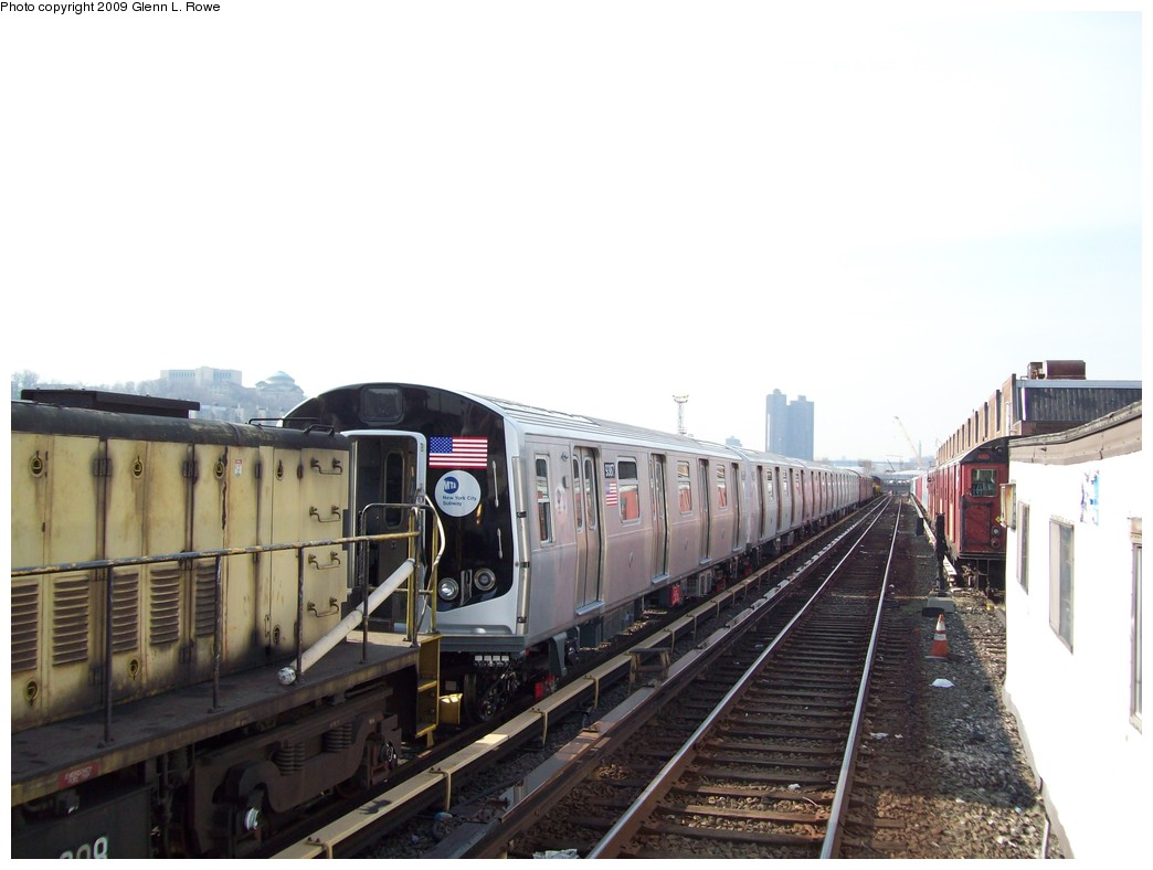 (161k, 1044x788)<br><b>Country:</b> United States<br><b>City:</b> New York<br><b>System:</b> New York City Transit<br><b>Location:</b> 207th Street Yard<br><b>Car:</b> R-160A (Option 1) (Alstom, 2008-2009, 5 car sets)  9387 <br><b>Photo by:</b> Glenn L. Rowe<br><b>Date:</b> 3/18/2009<br><b>Viewed (this week/total):</b> 2 / 1826