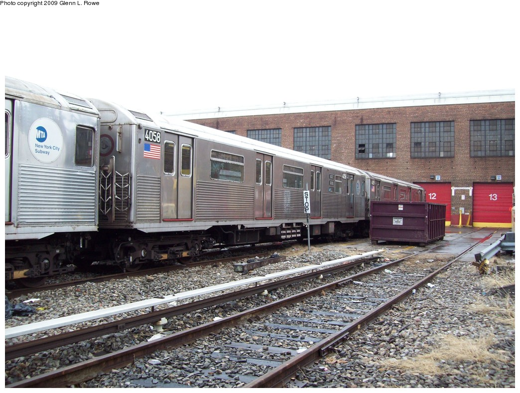 (263k, 1044x788)<br><b>Country:</b> United States<br><b>City:</b> New York<br><b>System:</b> New York City Transit<br><b>Location:</b> 207th Street Yard<br><b>Car:</b> R-38 (St. Louis, 1966-1967)  4058 <br><b>Photo by:</b> Glenn L. Rowe<br><b>Date:</b> 3/20/2009<br><b>Viewed (this week/total):</b> 1 / 531