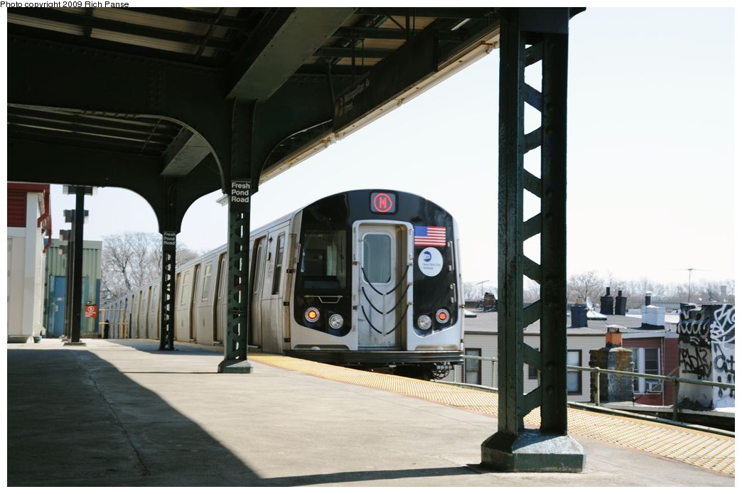 (150k, 1044x695)<br><b>Country:</b> United States<br><b>City:</b> New York<br><b>System:</b> New York City Transit<br><b>Line:</b> BMT Myrtle Avenue Line<br><b>Location:</b> Fresh Pond Road <br><b>Route:</b> M<br><b>Car:</b> R-160A-1 (Alstom, 2005-2008, 4 car sets)   <br><b>Photo by:</b> Richard Panse<br><b>Date:</b> 3/17/2009<br><b>Viewed (this week/total):</b> 5 / 1624