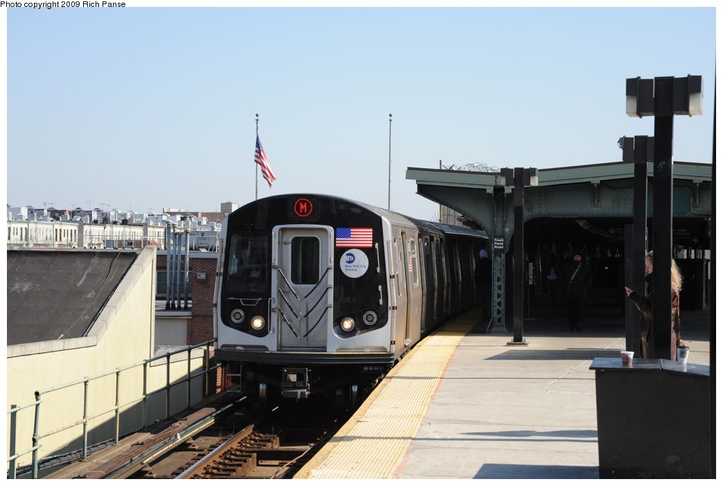 (170k, 1044x702)<br><b>Country:</b> United States<br><b>City:</b> New York<br><b>System:</b> New York City Transit<br><b>Line:</b> BMT Myrtle Avenue Line<br><b>Location:</b> Fresh Pond Road <br><b>Route:</b> M<br><b>Car:</b> R-160A-1 (Alstom, 2005-2008, 4 car sets)   <br><b>Photo by:</b> Richard Panse<br><b>Date:</b> 3/17/2009<br><b>Viewed (this week/total):</b> 4 / 675