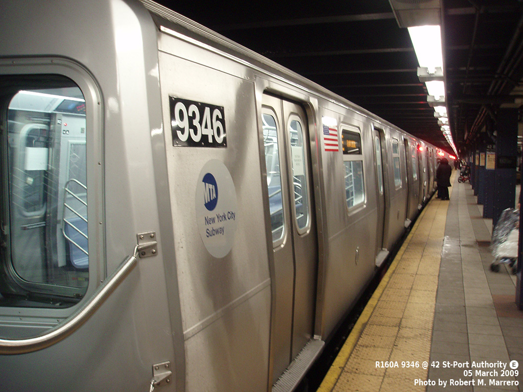 (326k, 1024x768)<br><b>Country:</b> United States<br><b>City:</b> New York<br><b>System:</b> New York City Transit<br><b>Line:</b> IND 8th Avenue Line<br><b>Location:</b> 42nd Street/Port Authority Bus Terminal <br><b>Route:</b> E<br><b>Car:</b> R-160A (Option 1) (Alstom, 2008-2009, 5 car sets)  9346 <br><b>Photo by:</b> Robert Marrero<br><b>Date:</b> 3/5/2009<br><b>Viewed (this week/total):</b> 0 / 2007