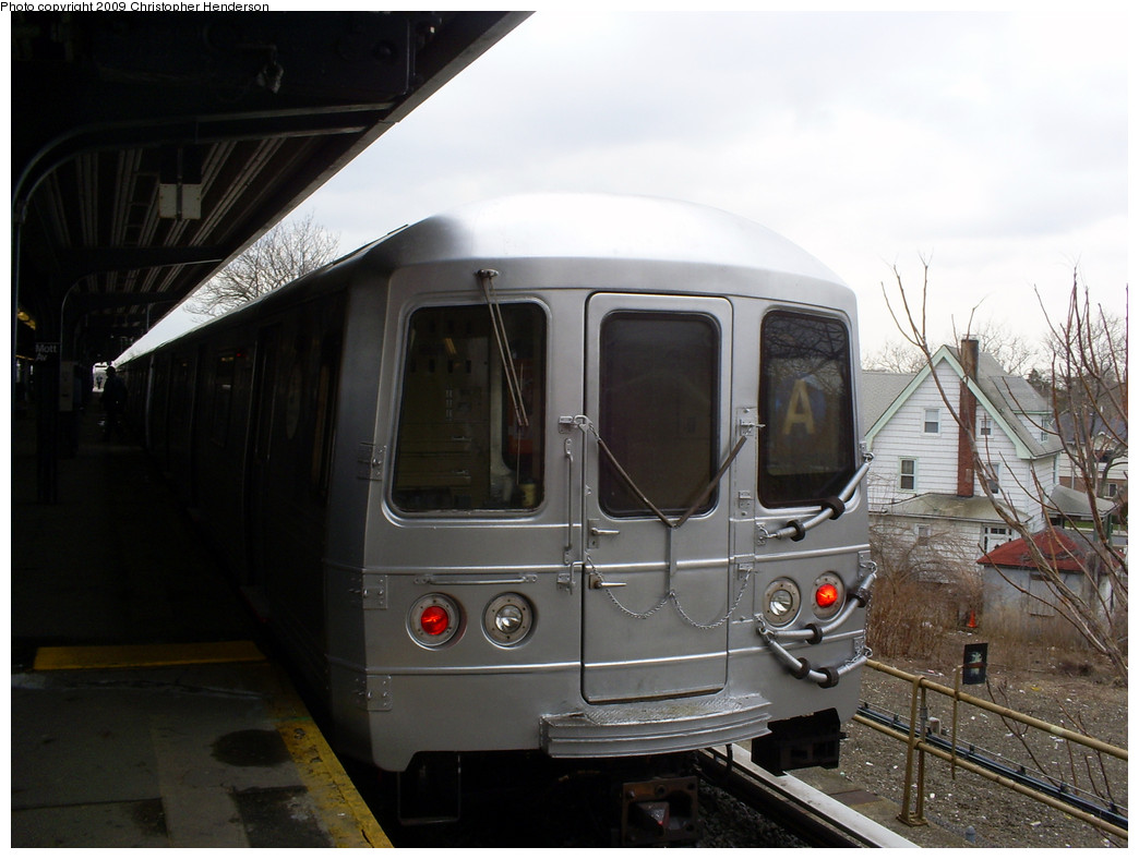 (217k, 1044x788)<br><b>Country:</b> United States<br><b>City:</b> New York<br><b>System:</b> New York City Transit<br><b>Line:</b> IND Rockaway<br><b>Location:</b> Mott Avenue/Far Rockaway <br><b>Route:</b> A<br><b>Car:</b> R-46 (Pullman-Standard, 1974-75) 6204 <br><b>Photo by:</b> Christopher Henderson<br><b>Date:</b> 3/20/2009<br><b>Viewed (this week/total):</b> 4 / 645