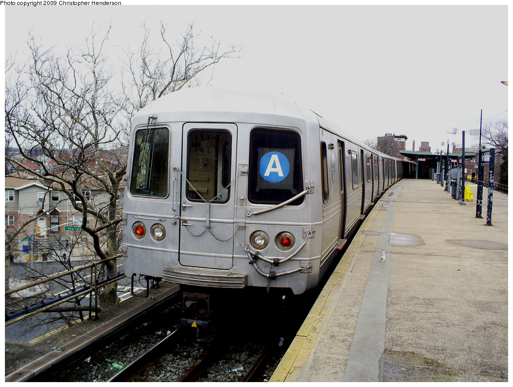 (304k, 1044x788)<br><b>Country:</b> United States<br><b>City:</b> New York<br><b>System:</b> New York City Transit<br><b>Line:</b> IND Rockaway<br><b>Location:</b> Mott Avenue/Far Rockaway <br><b>Route:</b> A<br><b>Car:</b> R-46 (Pullman-Standard, 1974-75) 6146 <br><b>Photo by:</b> Christopher Henderson<br><b>Date:</b> 3/20/2009<br><b>Viewed (this week/total):</b> 3 / 1035