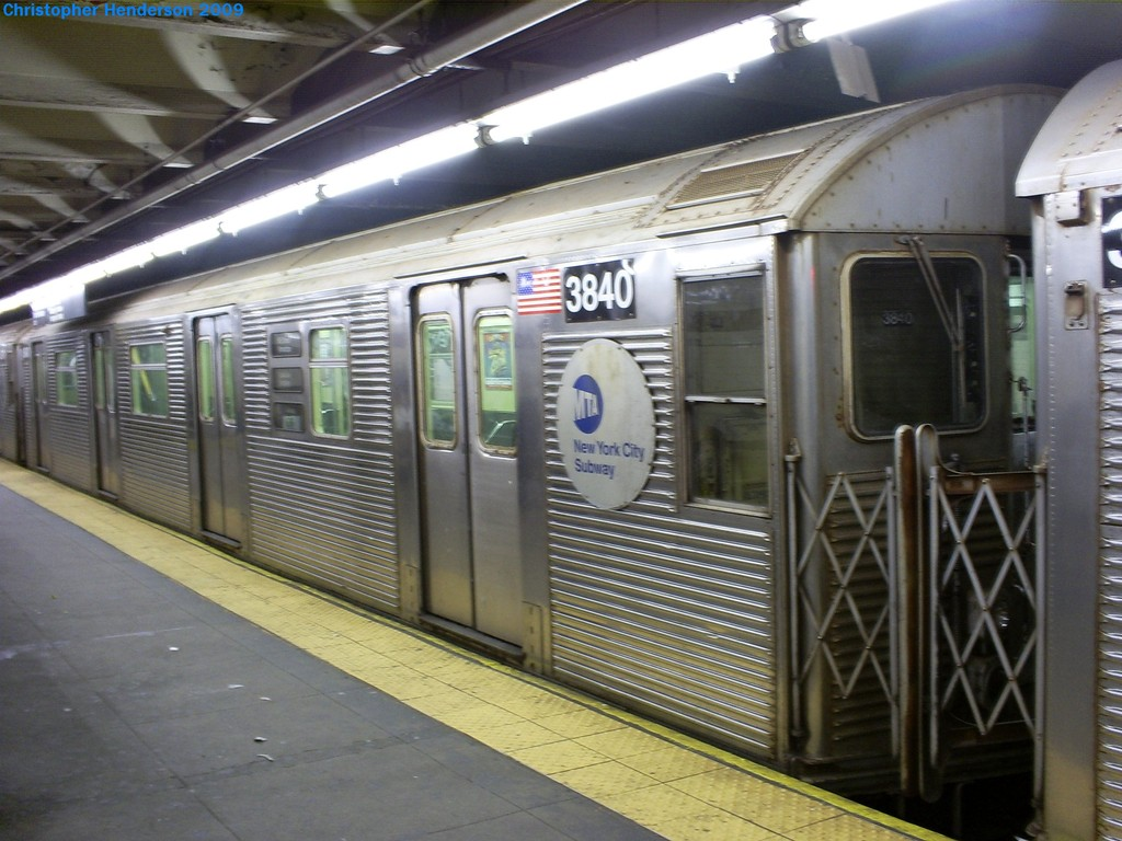 (194k, 1024x768)<br><b>Country:</b> United States<br><b>City:</b> New York<br><b>System:</b> New York City Transit<br><b>Line:</b> IND 8th Avenue Line<br><b>Location:</b> 168th Street <br><b>Route:</b> E<br><b>Car:</b> R-32 (Budd, 1964)  3840 <br><b>Photo by:</b> Christopher Henderson<br><b>Date:</b> 3/23/2009<br><b>Notes:</b> 3840 was the first R32 to go through the GOH program.<br><b>Viewed (this week/total):</b> 2 / 1461