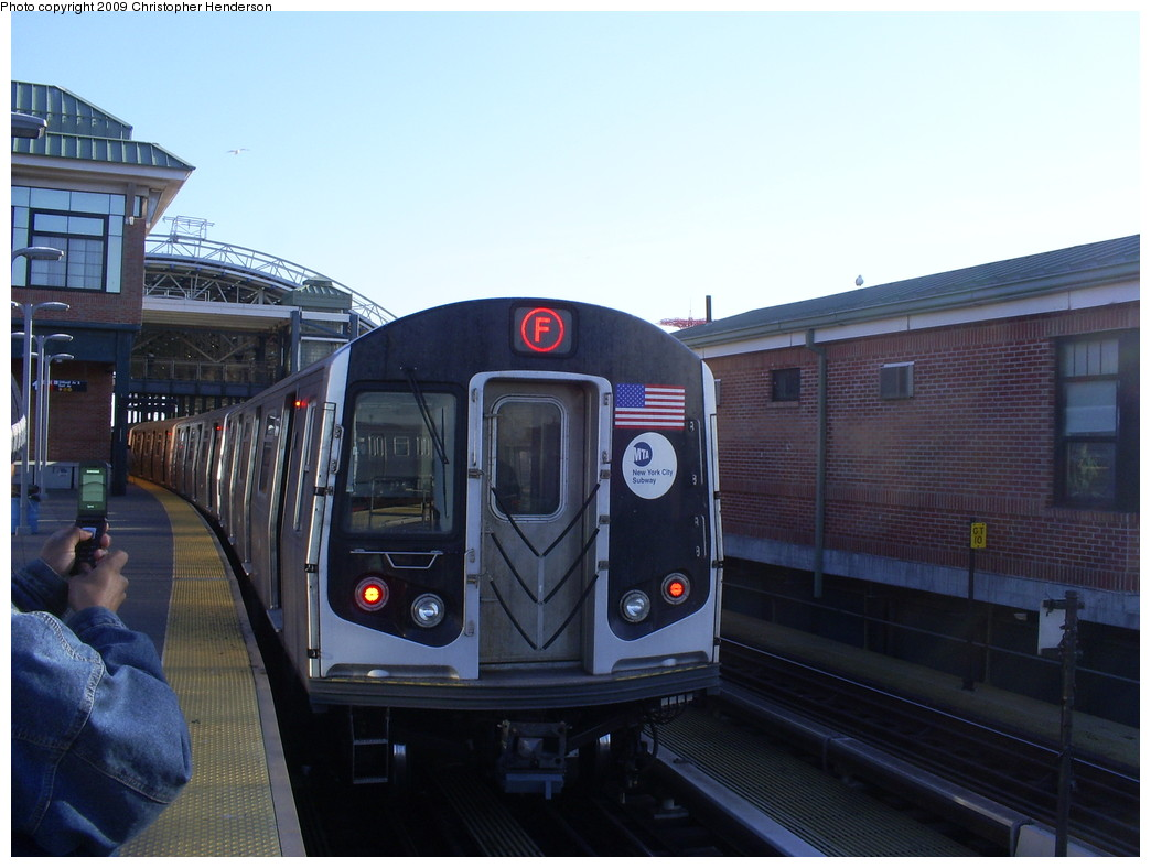 (219k, 1044x788)<br><b>Country:</b> United States<br><b>City:</b> New York<br><b>System:</b> New York City Transit<br><b>Location:</b> Coney Island/Stillwell Avenue<br><b>Route:</b> F<br><b>Car:</b> R-160A (Option 1) (Alstom, 2008-2009, 5 car sets)  9273 <br><b>Photo by:</b> Christopher Henderson<br><b>Date:</b> 3/24/2009<br><b>Notes:</b> The 1st day of R160-A on F service.<br><b>Viewed (this week/total):</b> 0 / 1238