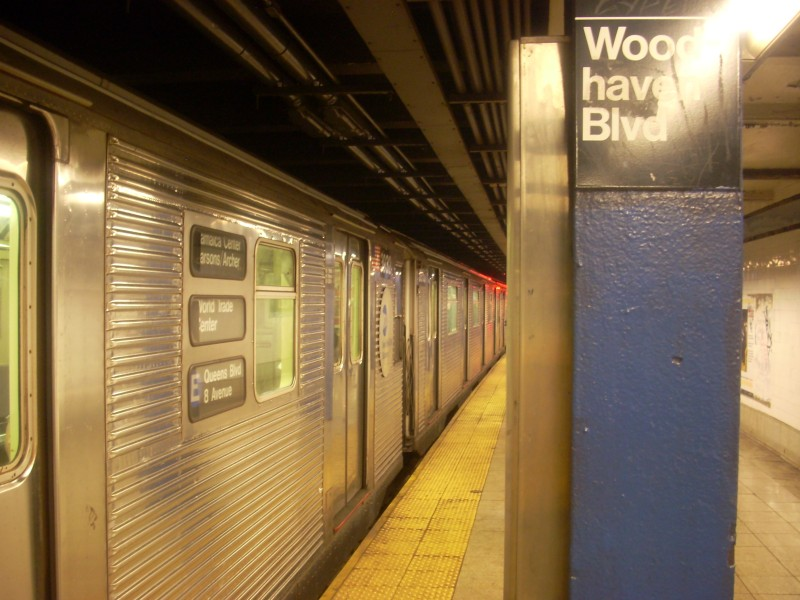 (152k, 800x600)<br><b>Country:</b> United States<br><b>City:</b> New York<br><b>System:</b> New York City Transit<br><b>Line:</b> IND Queens Boulevard Line<br><b>Location:</b> Woodhaven Boulevard/Queens Mall <br><b>Route:</b> E<br><b>Car:</b> R-32 (Budd, 1964)  3932 <br><b>Photo by:</b> Bill E.<br><b>Date:</b> 3/7/2009<br><b>Viewed (this week/total):</b> 4 / 1218