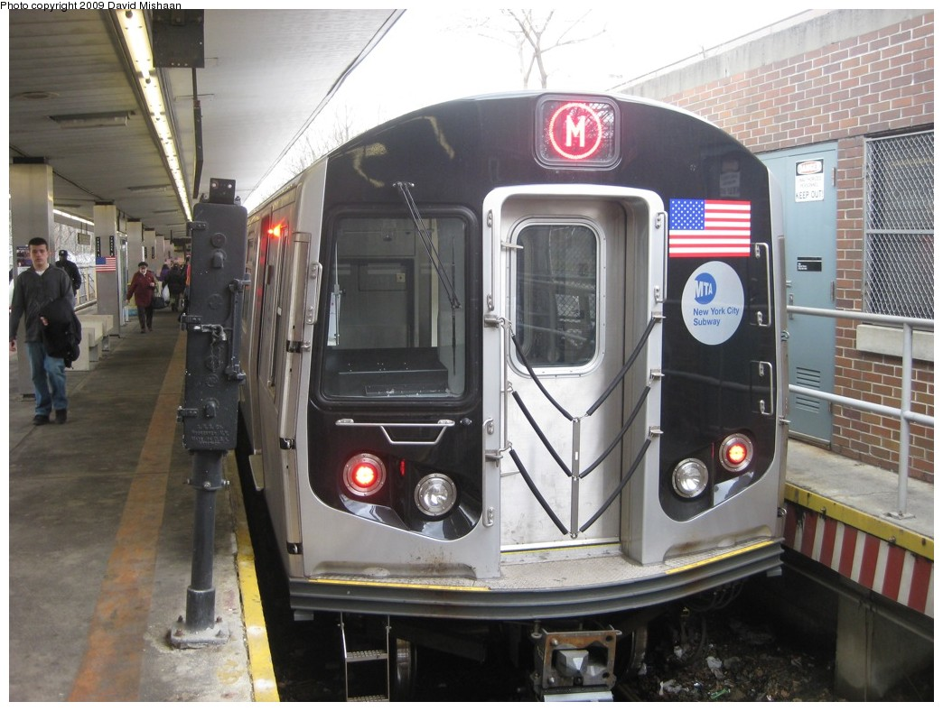 (200k, 1044x788)<br><b>Country:</b> United States<br><b>City:</b> New York<br><b>System:</b> New York City Transit<br><b>Line:</b> BMT Myrtle Avenue Line<br><b>Location:</b> Metropolitan Avenue <br><b>Route:</b> M<br><b>Car:</b> R-160A-1 (Alstom, 2005-2008, 4 car sets)  8648 <br><b>Photo by:</b> David M. <br><b>Date:</b> 2/19/2009<br><b>Viewed (this week/total):</b> 0 / 1621