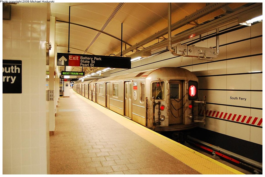 (224k, 1044x699)<br><b>Country:</b> United States<br><b>City:</b> New York<br><b>System:</b> New York City Transit<br><b>Line:</b> IRT West Side Line<br><b>Location:</b> South Ferry (New Station) <br><b>Route:</b> 1<br><b>Car:</b> R-62A (Bombardier, 1984-1987)  2361 <br><b>Photo by:</b> Michael Hodurski<br><b>Date:</b> 3/22/2008<br><b>Viewed (this week/total):</b> 0 / 1228