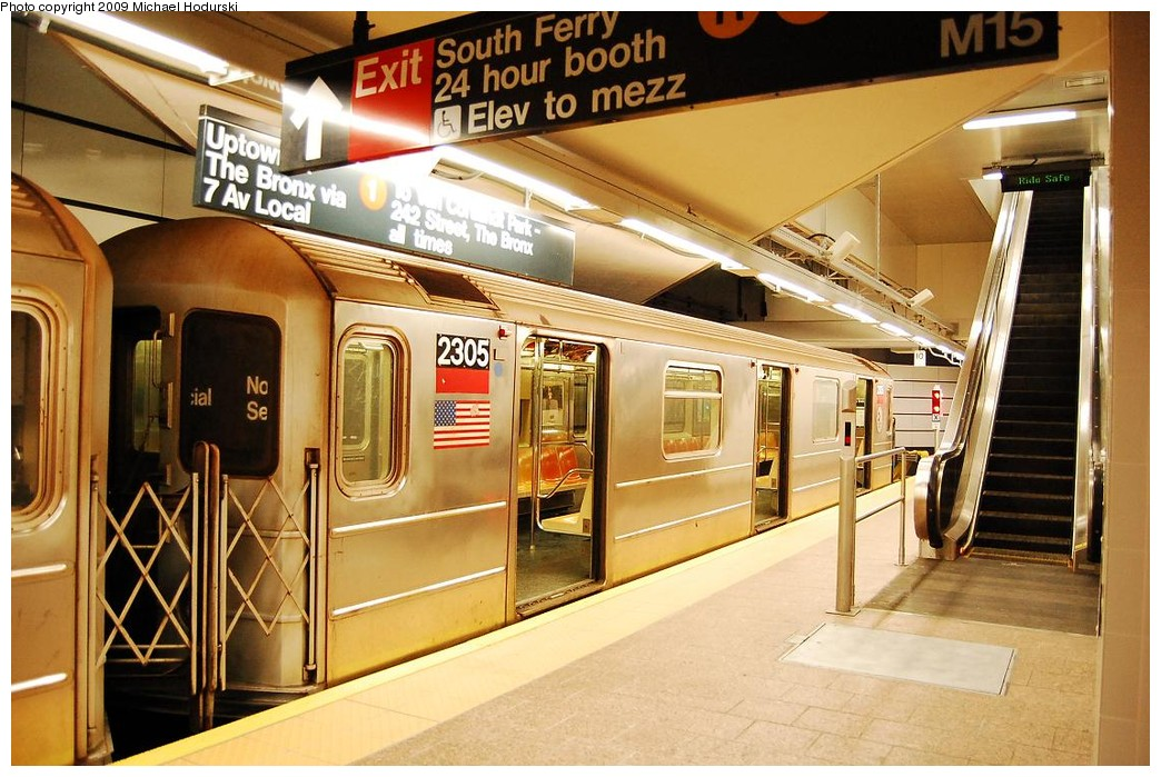 (244k, 1044x699)<br><b>Country:</b> United States<br><b>City:</b> New York<br><b>System:</b> New York City Transit<br><b>Line:</b> IRT West Side Line<br><b>Location:</b> South Ferry (New Station) <br><b>Route:</b> 1<br><b>Car:</b> R-62A (Bombardier, 1984-1987)  2305 <br><b>Photo by:</b> Michael Hodurski<br><b>Date:</b> 3/22/2008<br><b>Viewed (this week/total):</b> 3 / 1069