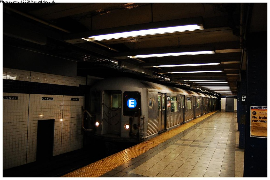 (195k, 1044x699)<br><b>Country:</b> United States<br><b>City:</b> New York<br><b>System:</b> New York City Transit<br><b>Line:</b> IND 8th Avenue Line<br><b>Location:</b> Canal Street-Holland Tunnel <br><b>Route:</b> E<br><b>Car:</b> R-42 (St. Louis, 1969-1970)  4775 <br><b>Photo by:</b> Michael Hodurski<br><b>Date:</b> 3/22/2008<br><b>Viewed (this week/total):</b> 1 / 568