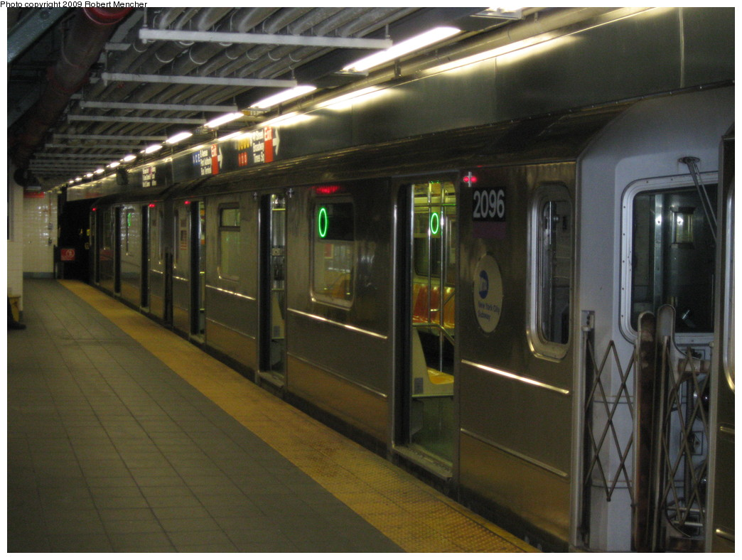 (204k, 1044x788)<br><b>Country:</b> United States<br><b>City:</b> New York<br><b>System:</b> New York City Transit<br><b>Line:</b> IRT Flushing Line<br><b>Location:</b> Times Square <br><b>Route:</b> 7<br><b>Car:</b> R-62A (Bombardier, 1984-1987)  2096 <br><b>Photo by:</b> Robert Mencher<br><b>Date:</b> 3/23/2009<br><b>Viewed (this week/total):</b> 2 / 1812