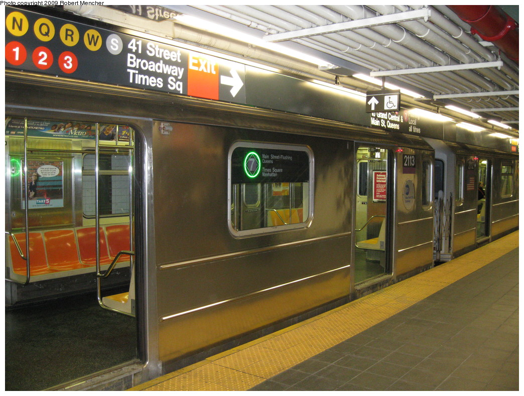 (259k, 1044x788)<br><b>Country:</b> United States<br><b>City:</b> New York<br><b>System:</b> New York City Transit<br><b>Line:</b> IRT Flushing Line<br><b>Location:</b> Times Square <br><b>Route:</b> 7<br><b>Car:</b> R-62A (Bombardier, 1984-1987)  2113 <br><b>Photo by:</b> Robert Mencher<br><b>Date:</b> 3/23/2009<br><b>Viewed (this week/total):</b> 3 / 2621