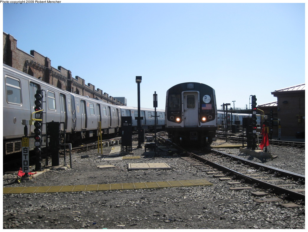 (254k, 1044x788)<br><b>Country:</b> United States<br><b>City:</b> New York<br><b>System:</b> New York City Transit<br><b>Location:</b> East New York Yard/Shops<br><b>Car:</b> R-143 (Kawasaki, 2001-2002) 8145 <br><b>Photo by:</b> Robert Mencher<br><b>Date:</b> 3/23/2009<br><b>Viewed (this week/total):</b> 1 / 574