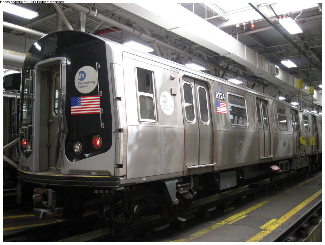 (205k, 1044x788)<br><b>Country:</b> United States<br><b>City:</b> New York<br><b>System:</b> New York City Transit<br><b>Location:</b> East New York Yard/Shops<br><b>Car:</b> R-143 (Kawasaki, 2001-2002) 8224 <br><b>Photo by:</b> Robert Mencher<br><b>Date:</b> 3/23/2009<br><b>Viewed (this week/total):</b> 2 / 652